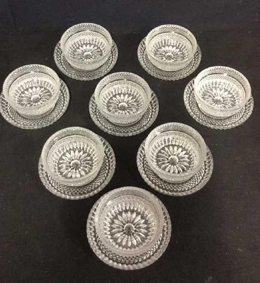 Lot 16 Vintage Set Of Cut Glass Bowls And Plates