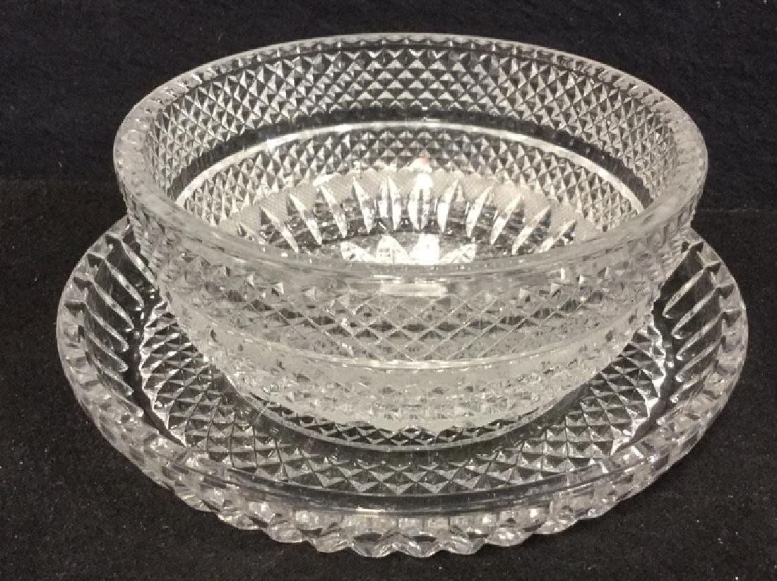 Lot 16 Vintage Set Of Cut Glass Bowls And Plates - 5