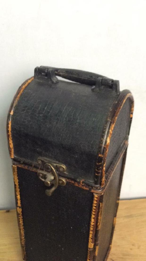 Black Toned Leather Style Lidded Box - 2
