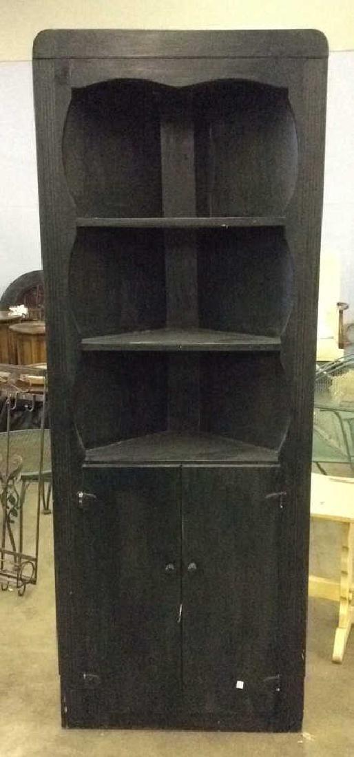 Black Toned Wooden Corner Cabinet Hutch