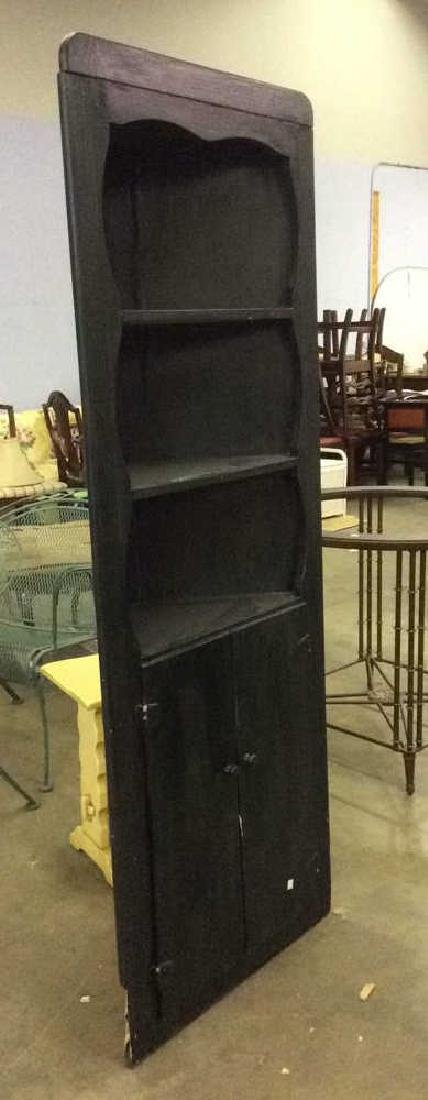 Black Toned Wooden Corner Cabinet Hutch - 2