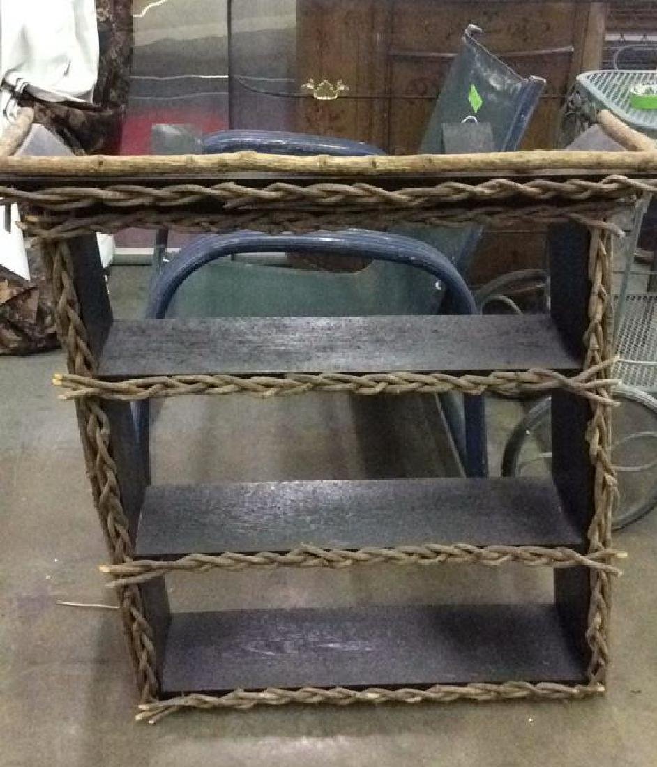 Black toned Wood Adirondack Style Shelf Unit - 2