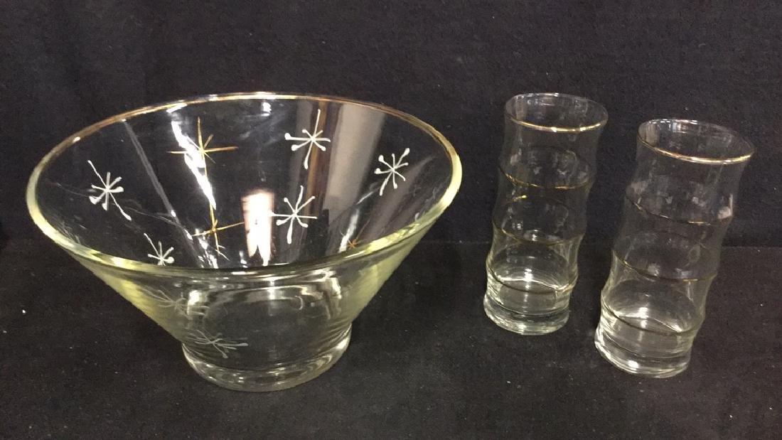 Lot 3 Vintage Centerpiece Bowl And Tumbler Glasses