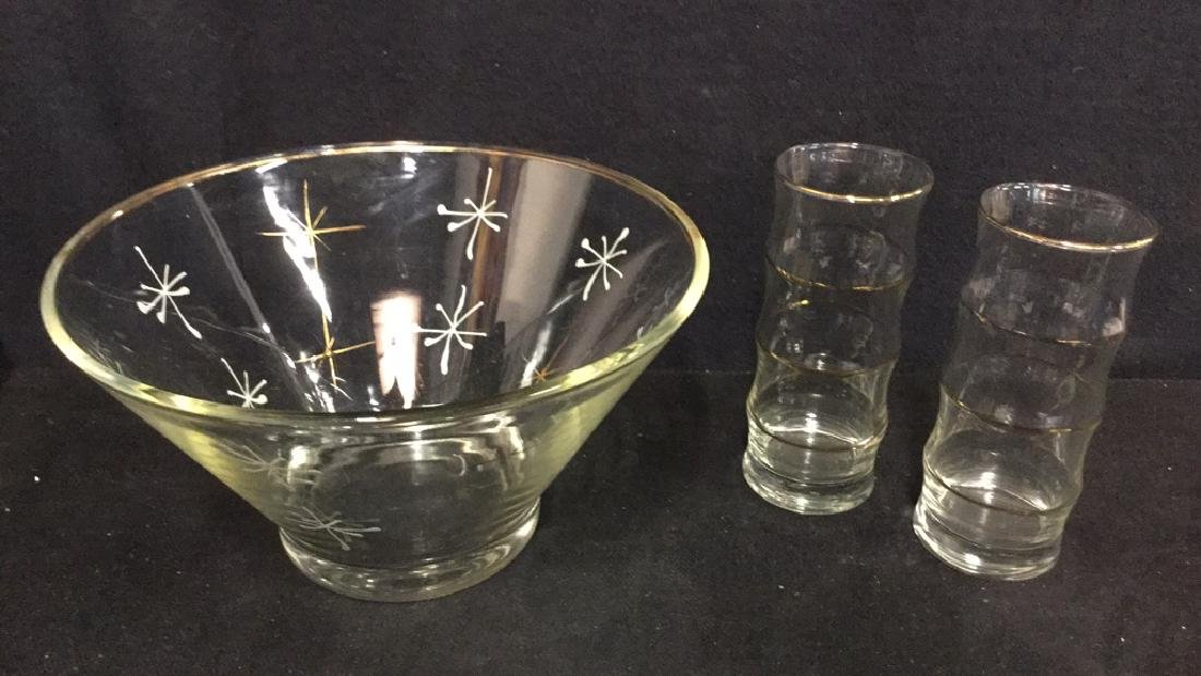 Lot 3 Vintage Centerpiece Bowl And Tumbler Glasses