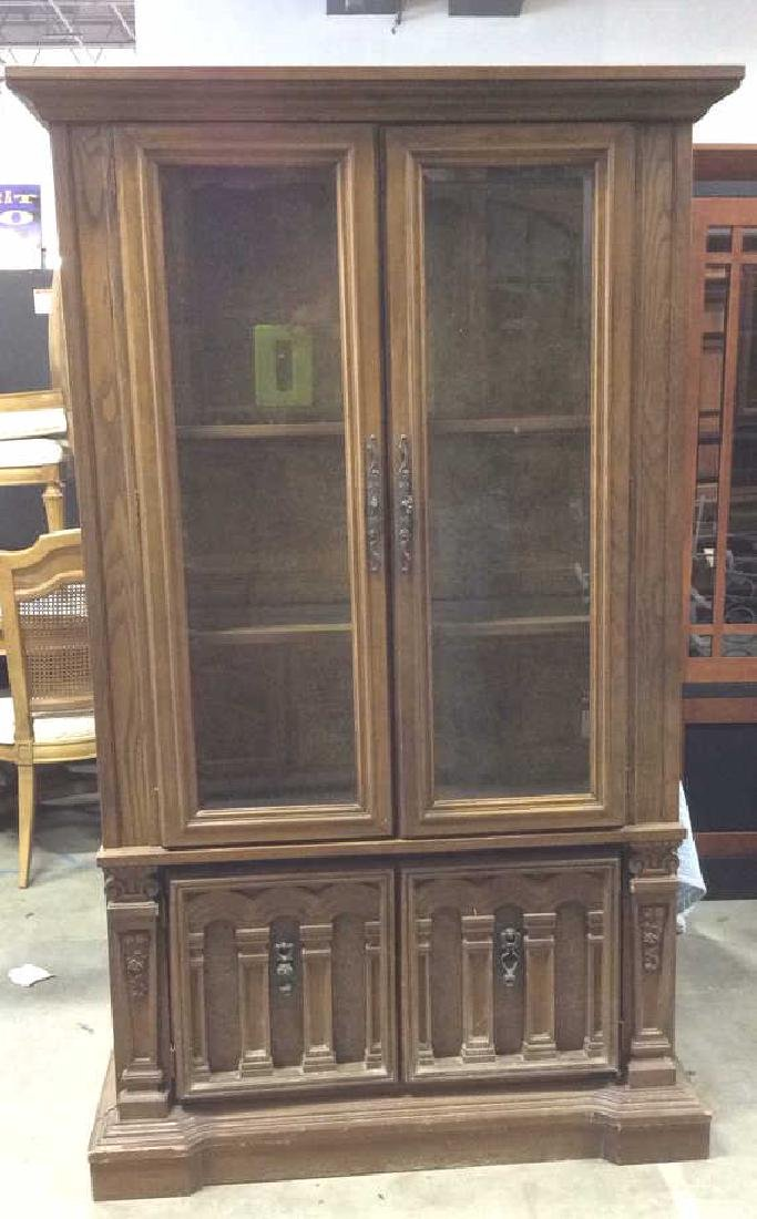 Intricately Carved Wooden China Cabinet