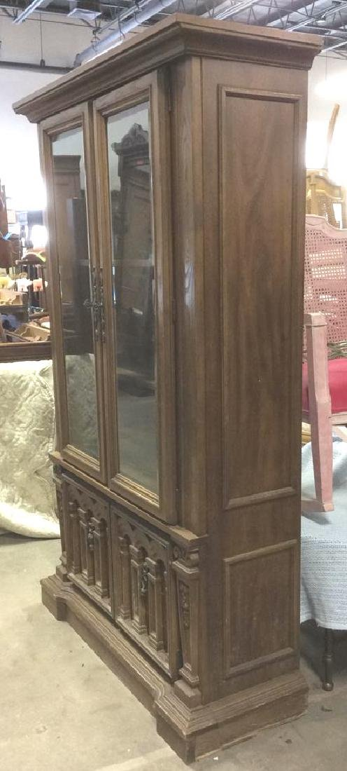 Intricately Carved Wooden China Cabinet - 8