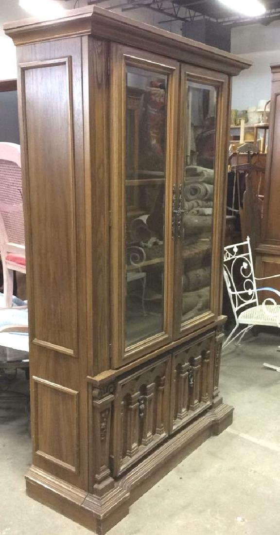 Intricately Carved Wooden China Cabinet - 9