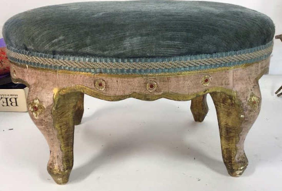 Antique Italian Carved Painted Footstool