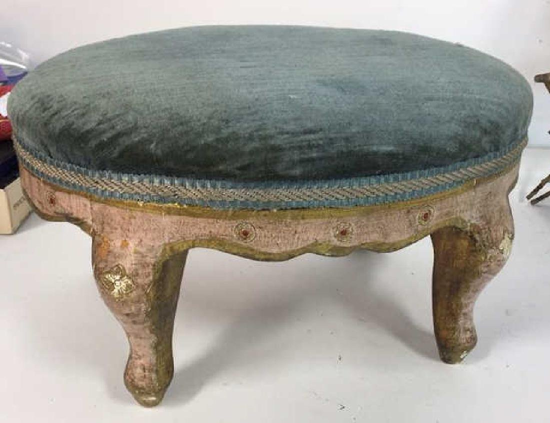 Antique Italian Carved Painted Footstool - 2