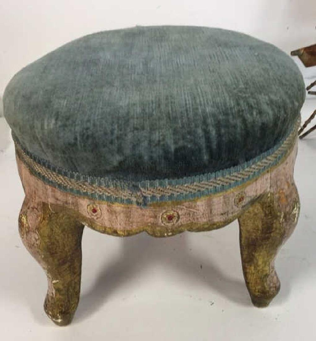 Antique Italian Carved Painted Footstool - 3