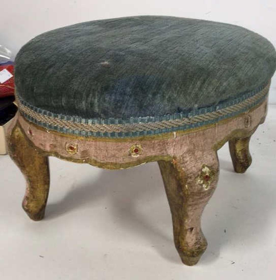Antique Italian Carved Painted Footstool - 5