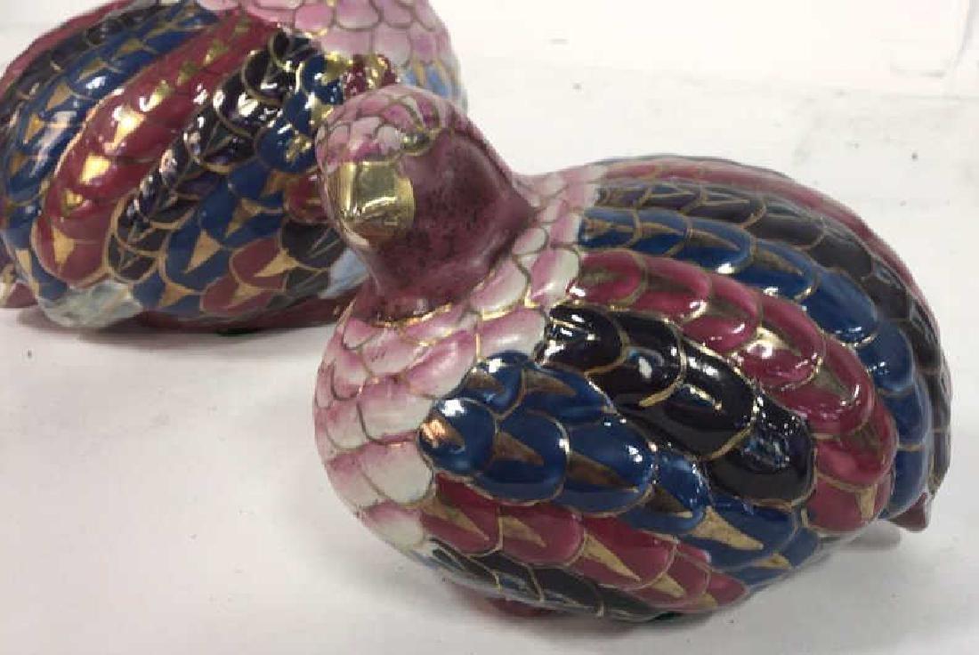 Pair Painted Ceramic Porcelain Quails - 5
