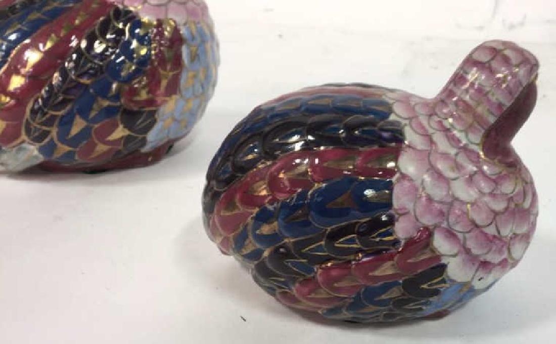 Pair Painted Ceramic Porcelain Quails - 6