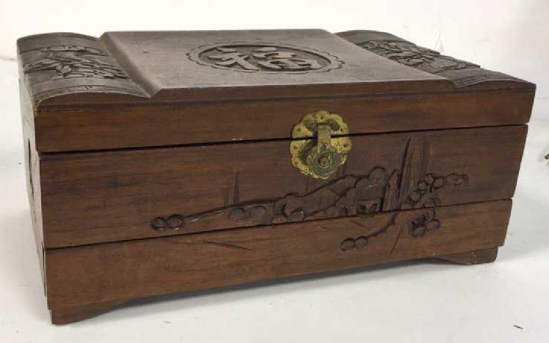Vintage Carved Wood Asian Jewelry Box