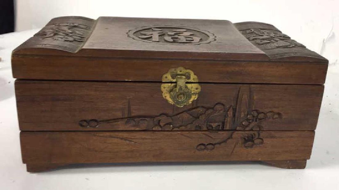 Vintage Carved Wood Asian Jewelry Box - 2