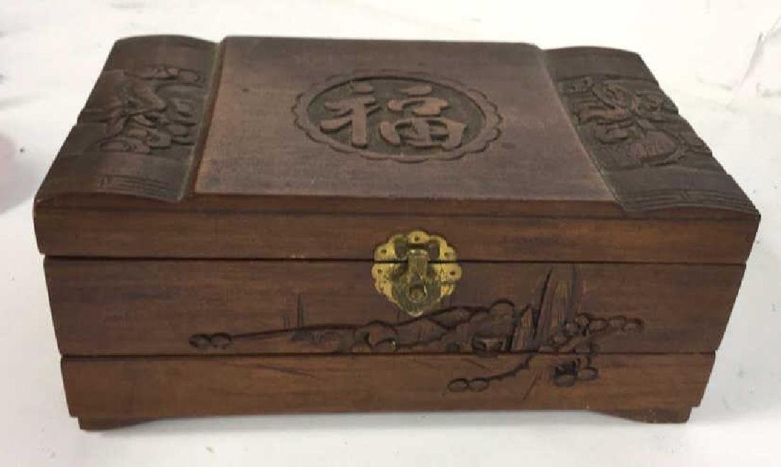 Vintage Carved Wood Asian Jewelry Box - 3