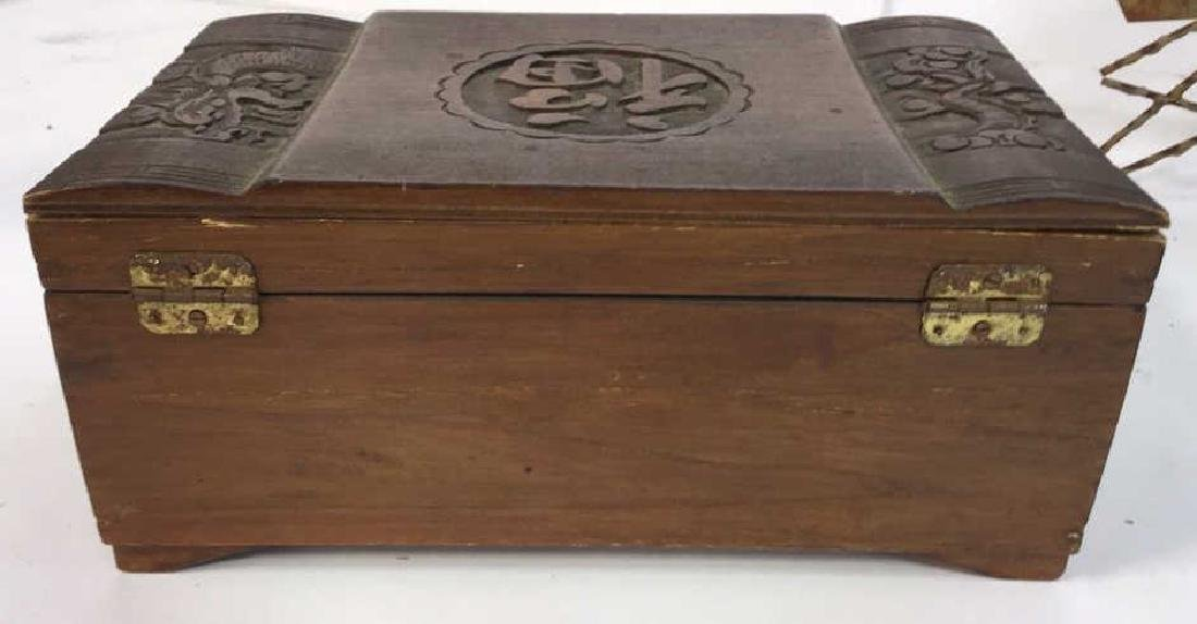 Vintage Carved Wood Asian Jewelry Box - 4