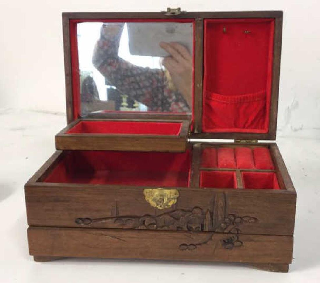 Vintage Carved Wood Asian Jewelry Box - 6