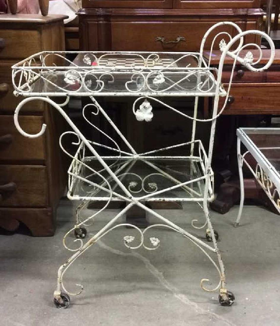 Outdoor White Toned Metal Beverage Cart
