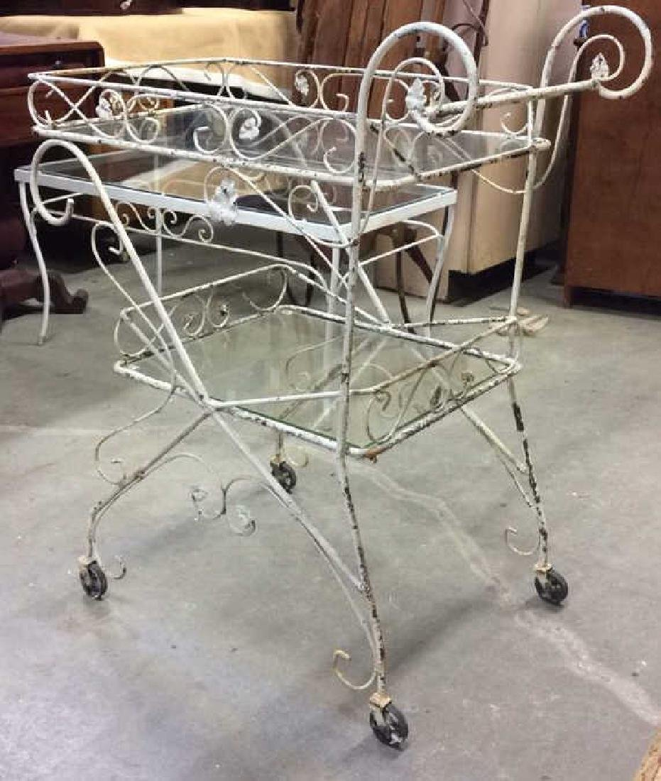 Outdoor White Toned Metal Beverage Cart - 2