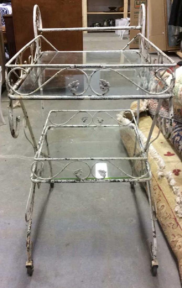 Outdoor White Toned Metal Beverage Cart - 4