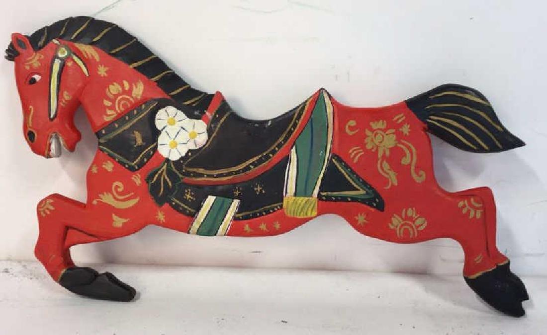 Folk Art Carved Painted Wood Horse