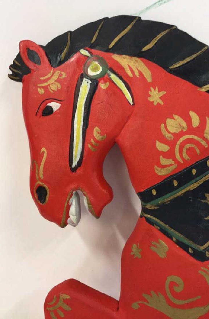 Folk Art Carved Painted Wood Horse - 3