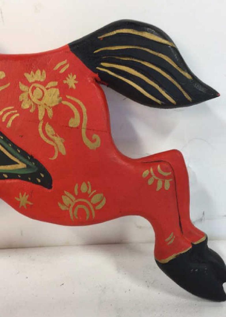 Folk Art Carved Painted Wood Horse - 4