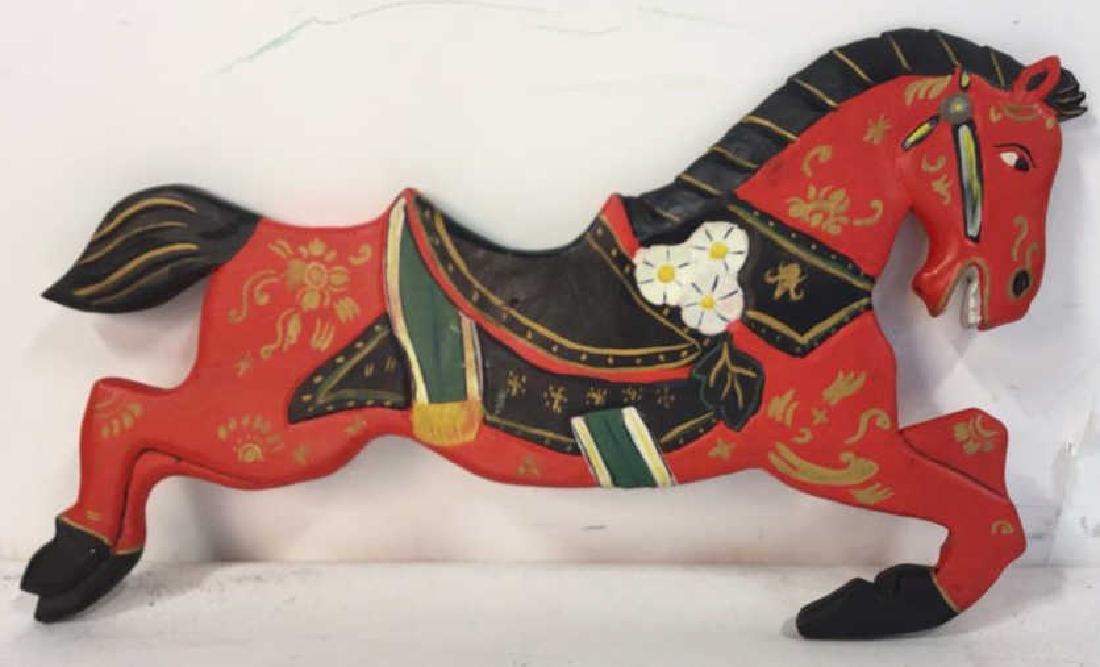 Folk Art Carved Painted Wood Horse - 6