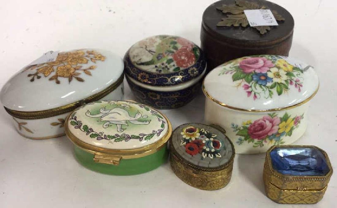 Group Lot 7 Lidded Pill Boxes, Porcelain and more