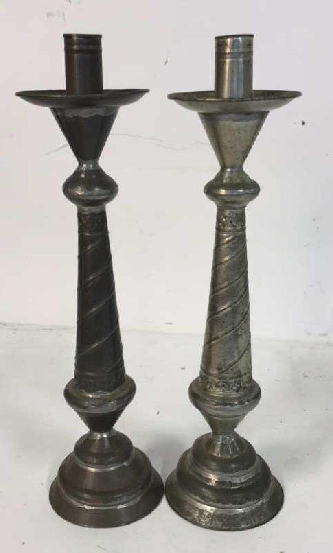 Pair Shaped Vintage Metal Candlesticks