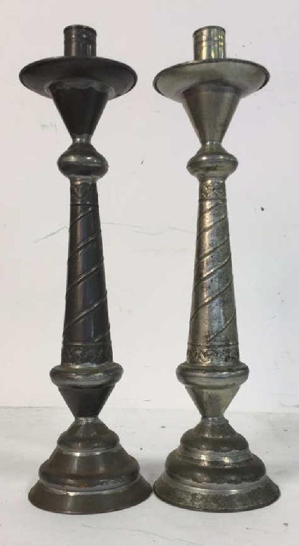 Pair Shaped Vintage Metal Candlesticks - 2