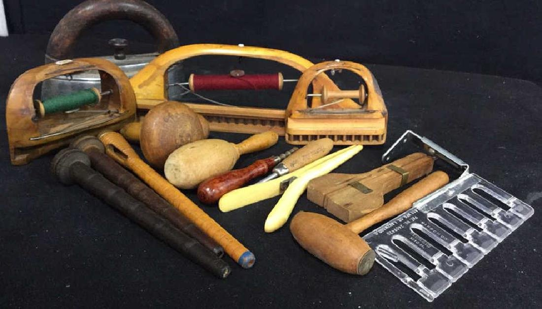 Group Antique Sewing and Needlework Tools