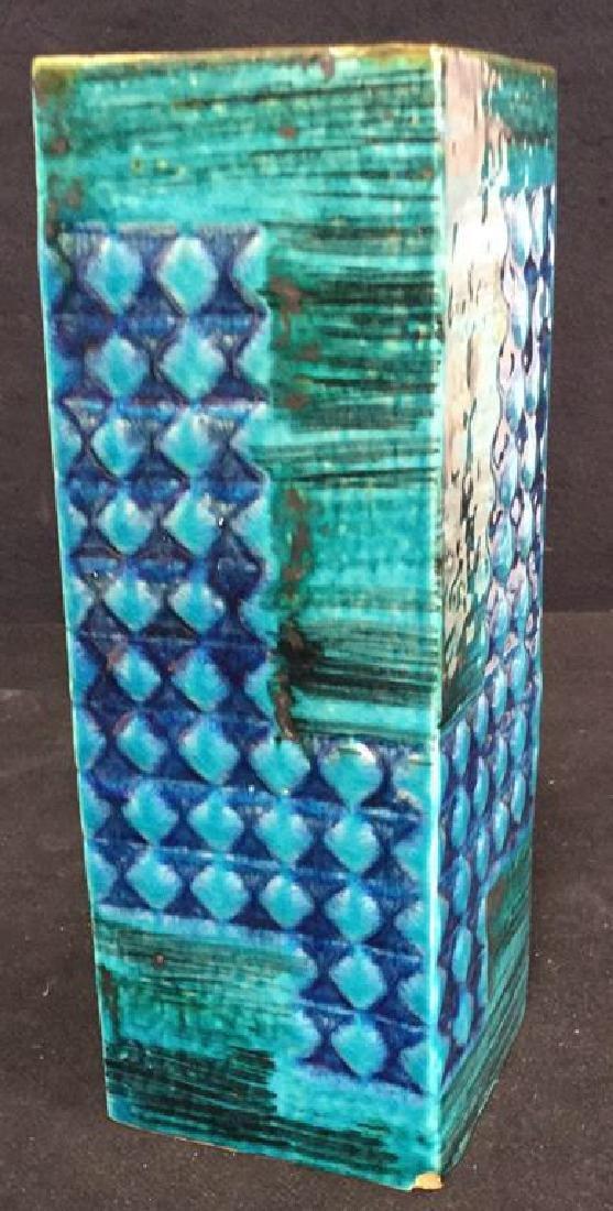 Hand Formed Turquoise Ceramic Vase - 2