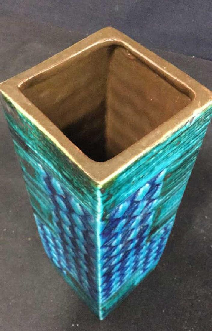 Hand Formed Turquoise Ceramic Vase - 5