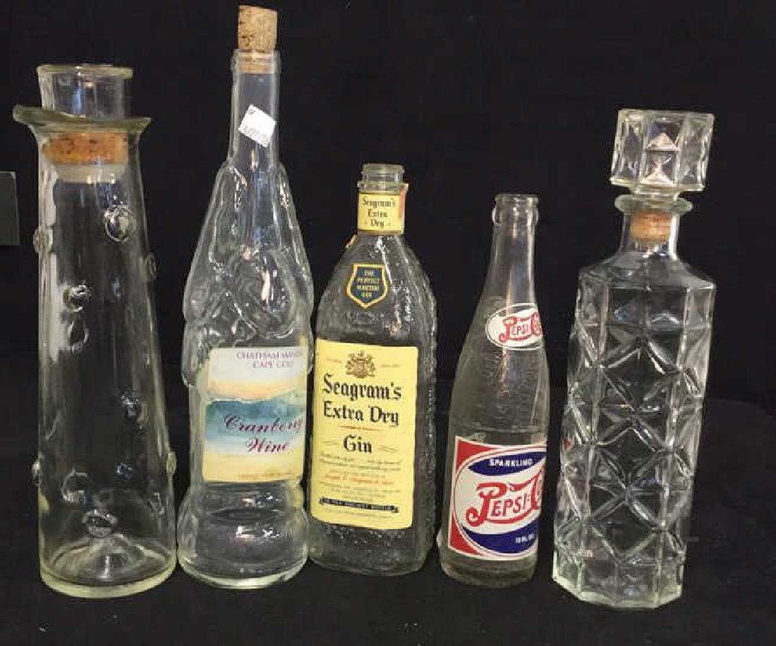Group 5 Vintage Collectible Glass Bottles