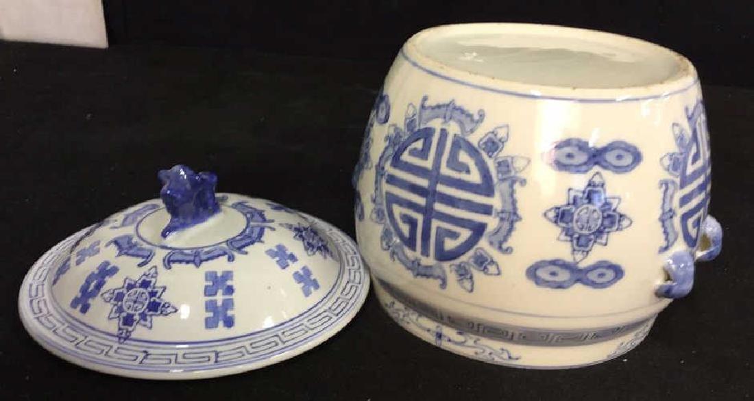 Blue White Porcelain Ceramic Asian Lidded Vessel - 10