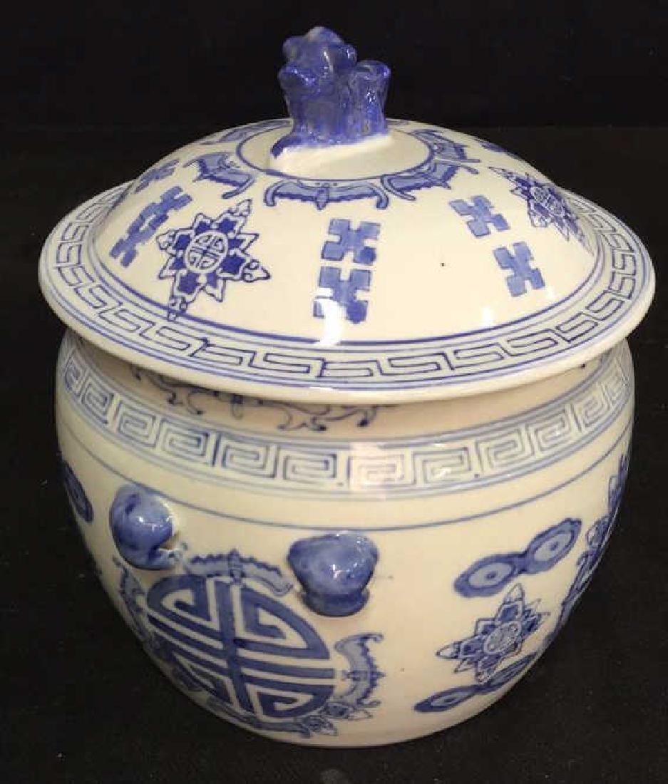 Blue White Porcelain Ceramic Asian Lidded Vessel