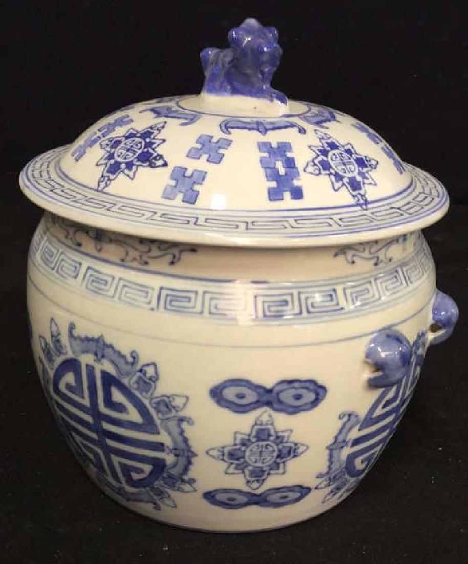 Blue White Porcelain Ceramic Asian Lidded Vessel - 2