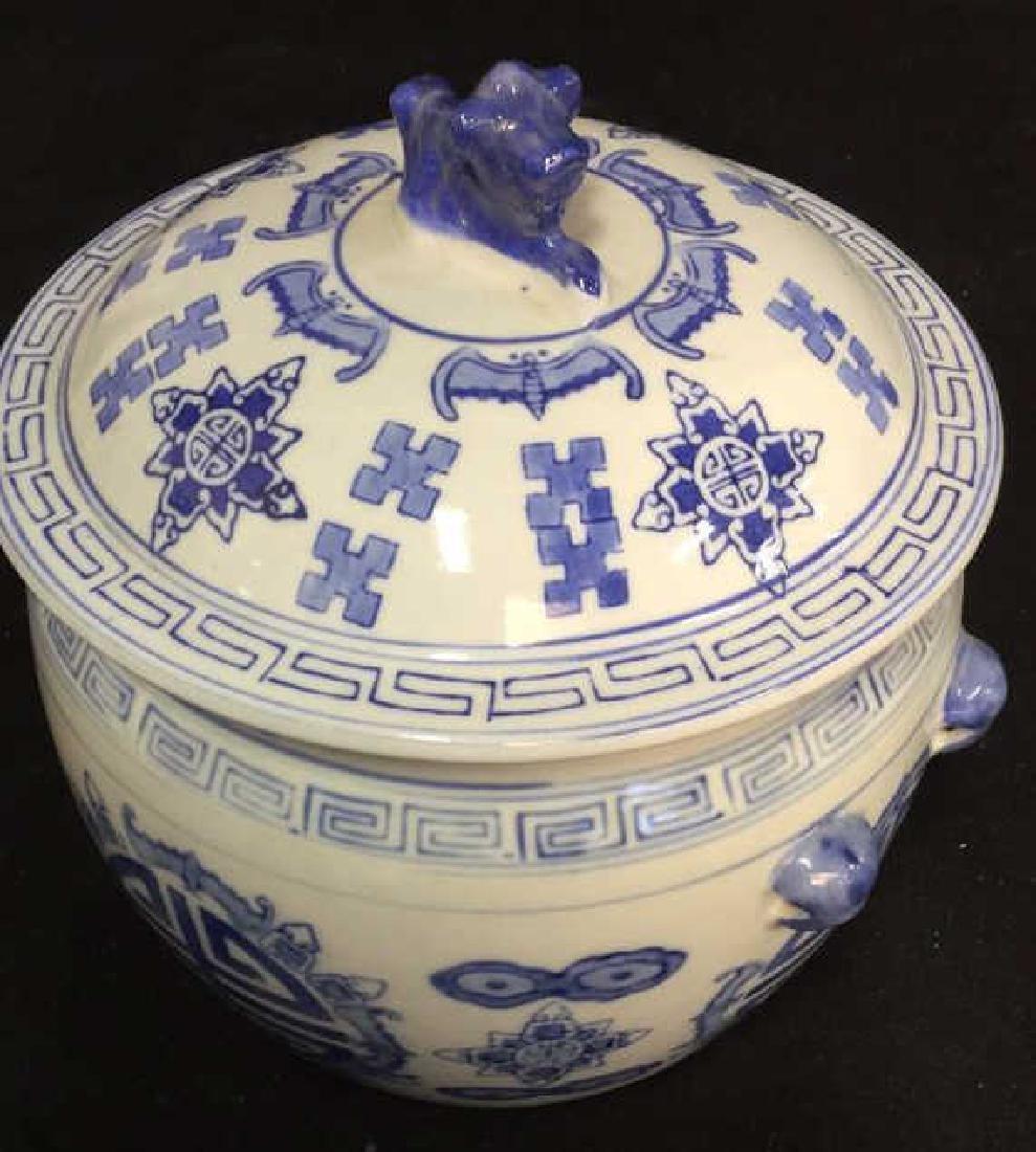 Blue White Porcelain Ceramic Asian Lidded Vessel - 3