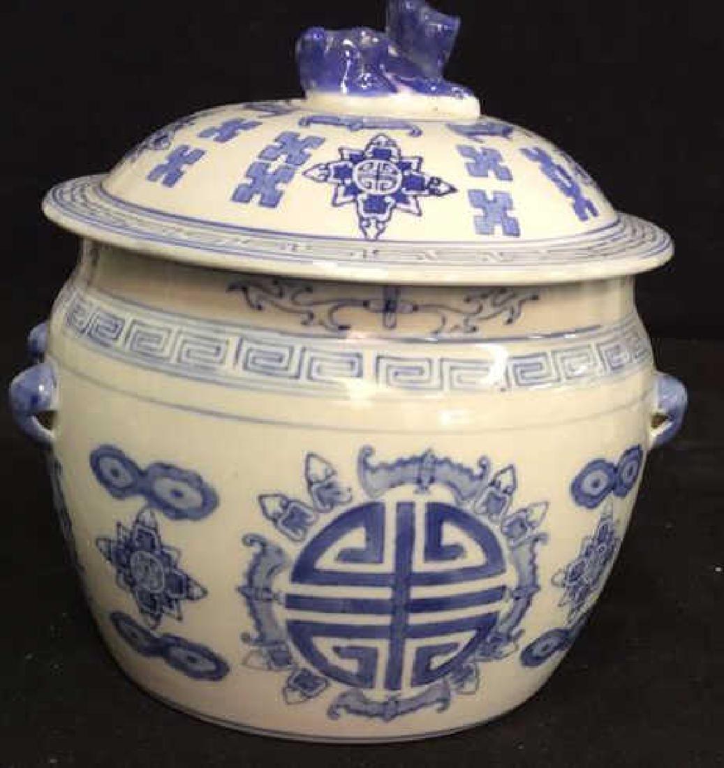 Blue White Porcelain Ceramic Asian Lidded Vessel - 4