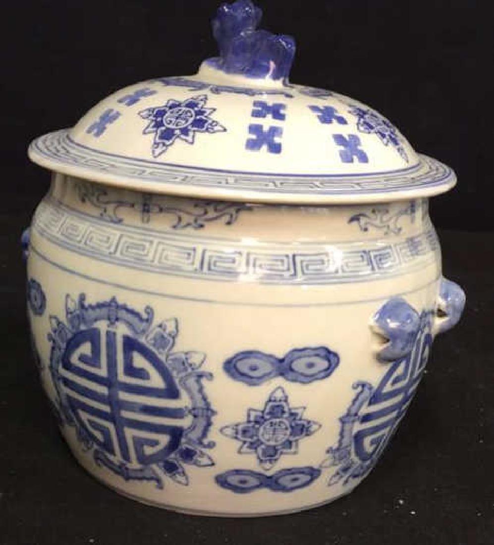 Blue White Porcelain Ceramic Asian Lidded Vessel - 6