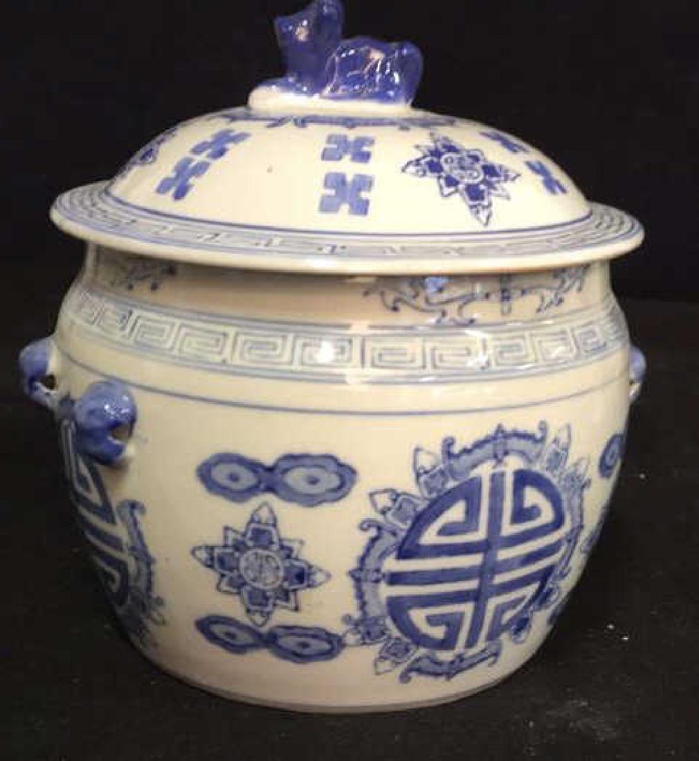 Blue White Porcelain Ceramic Asian Lidded Vessel - 7
