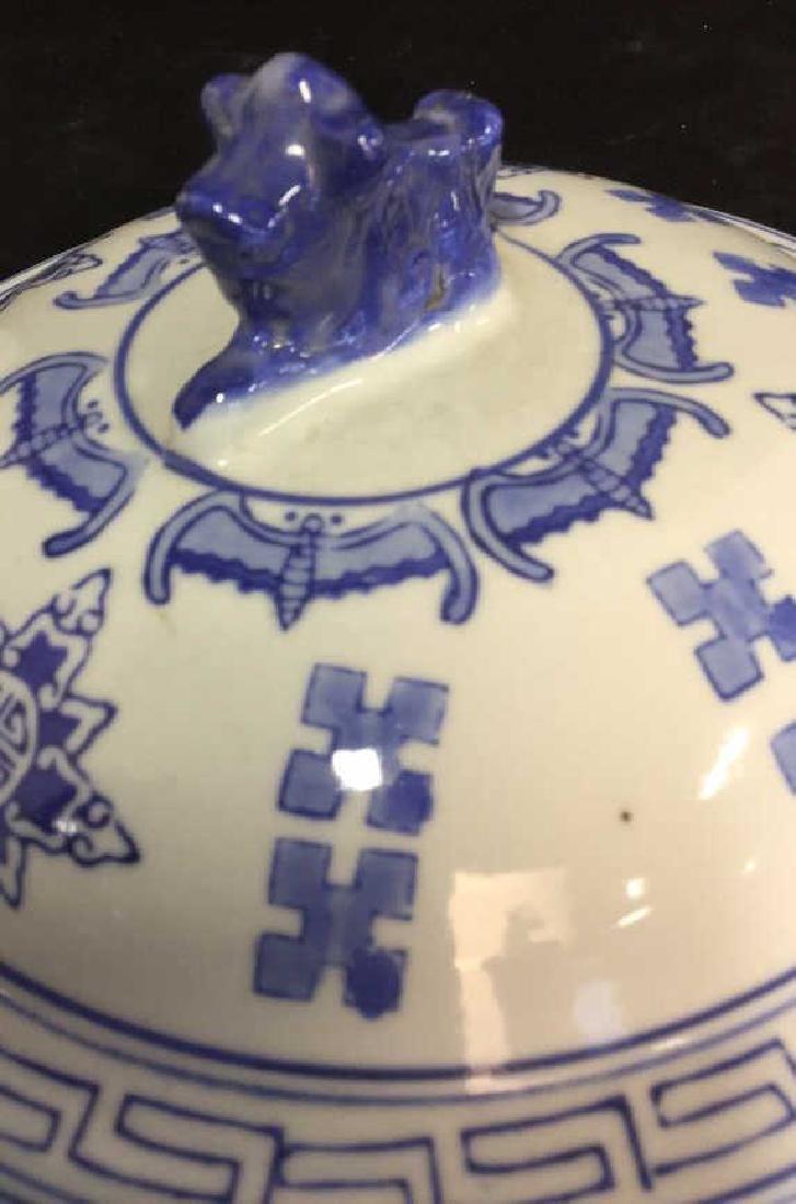 Blue White Porcelain Ceramic Asian Lidded Vessel - 8