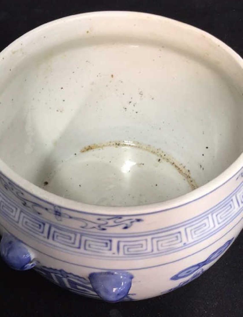 Blue White Porcelain Ceramic Asian Lidded Vessel - 9