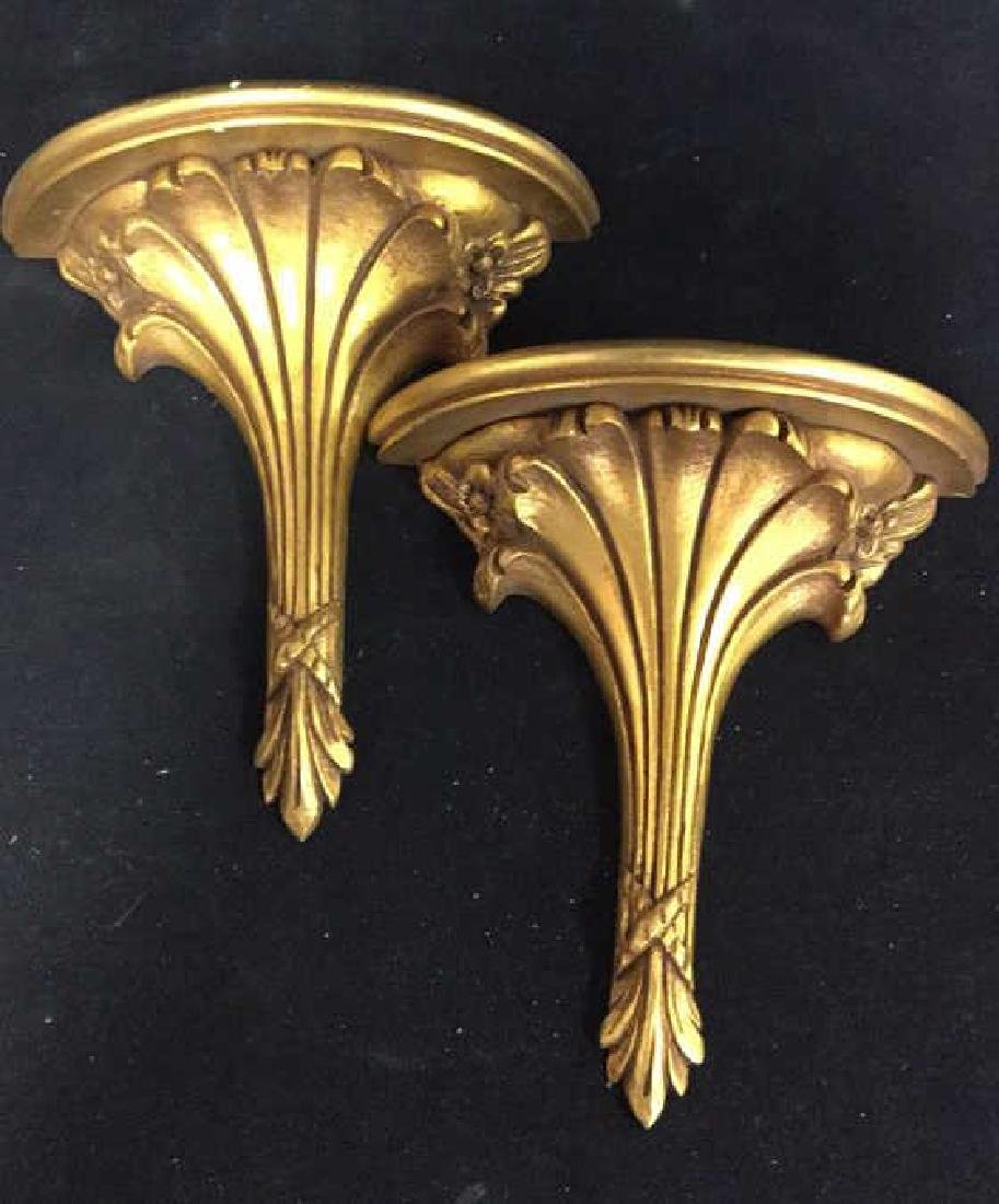 Pair Carved Gold Leafed Wall Brackets Display