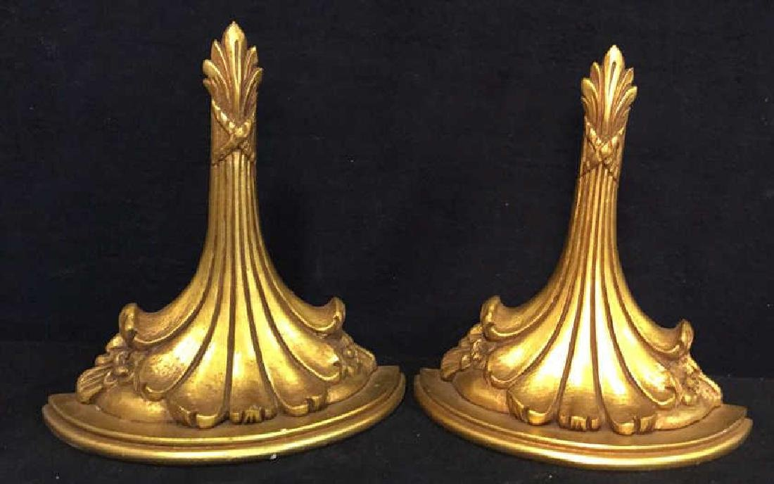 Pair Carved Gold Leafed Wall Brackets Display - 3