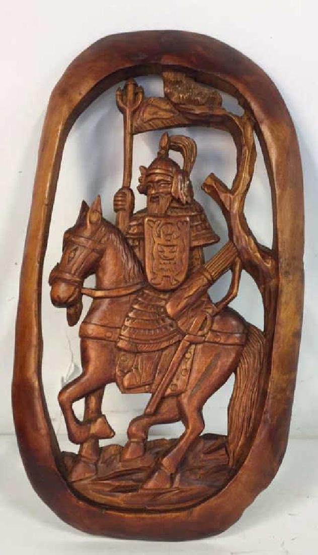 Asian Carved Wood Wall Hanging