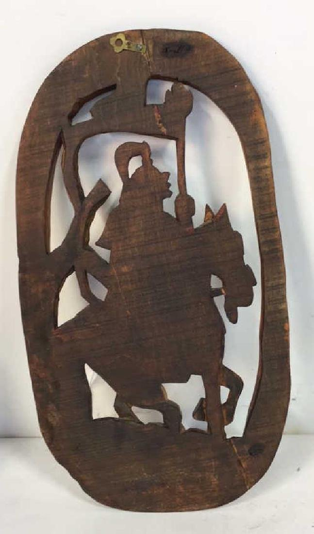 Asian Carved Wood Wall Hanging - 6