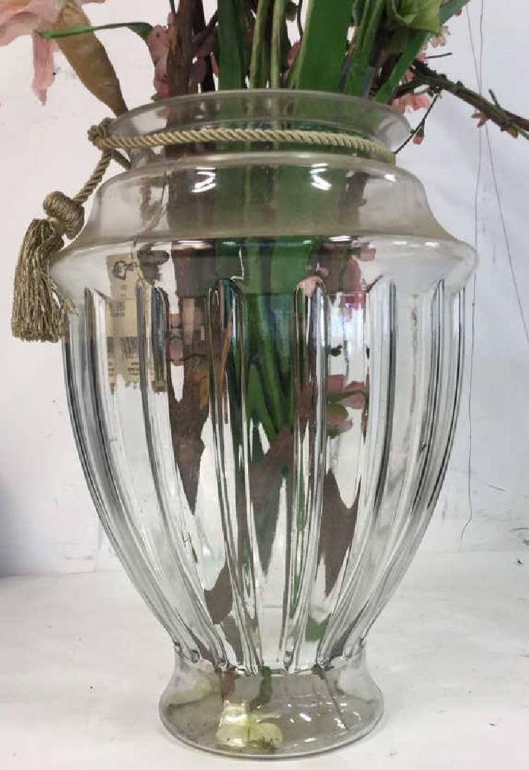 Large Shaped Glass Vase w Faux Blossoms